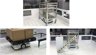 机器人应用解决方案:栈板/料车顶升旋转搬运+门禁/电梯系统通讯与协同